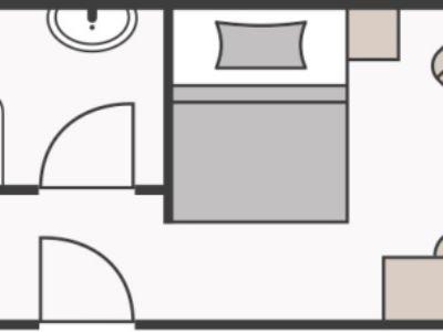 Skizze Einzelzimmer ohne Balkon