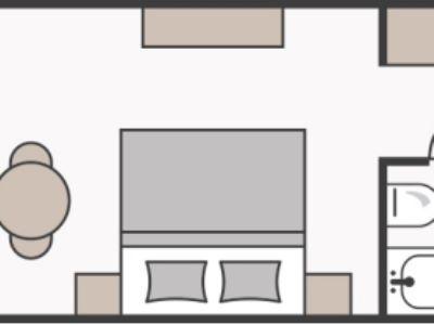 Skizze Doppelzimmer zur Einzelnutzung